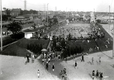 1925 Top left St Joseph's Hospital. Below it, dancing at Pavilion Rest. Worlds largest outdoor pool here at Sunnyside.tpl 1