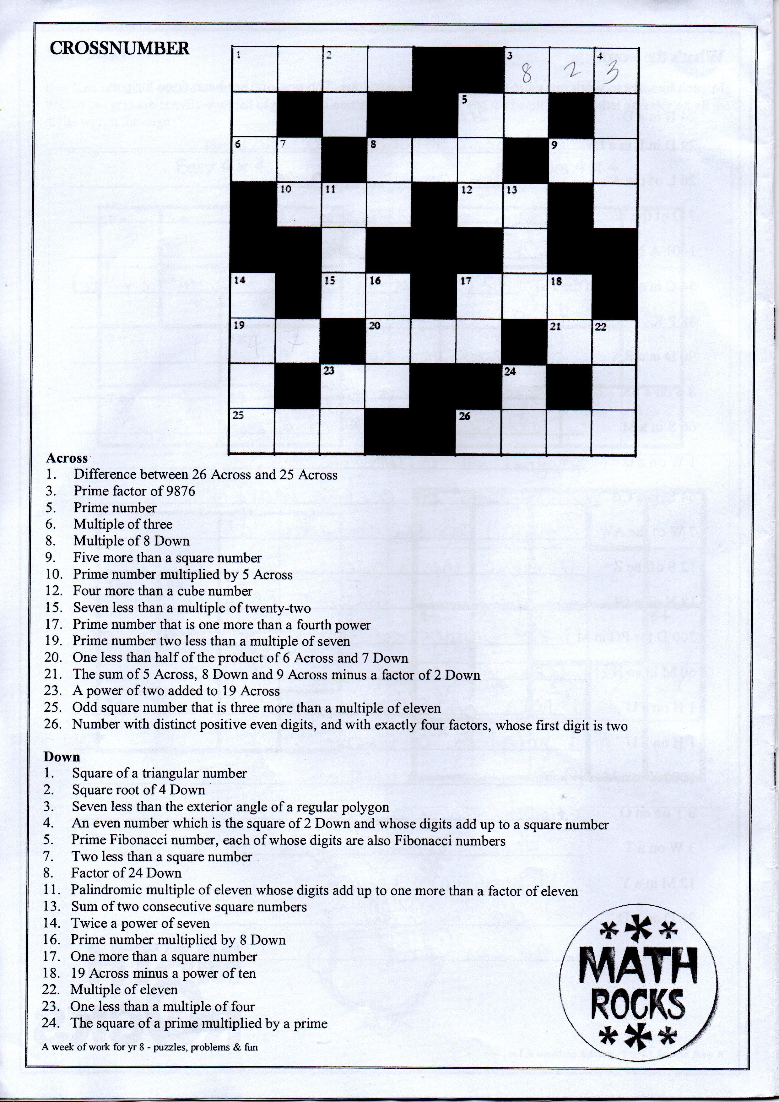 Homework Problem In Geometry Crossword