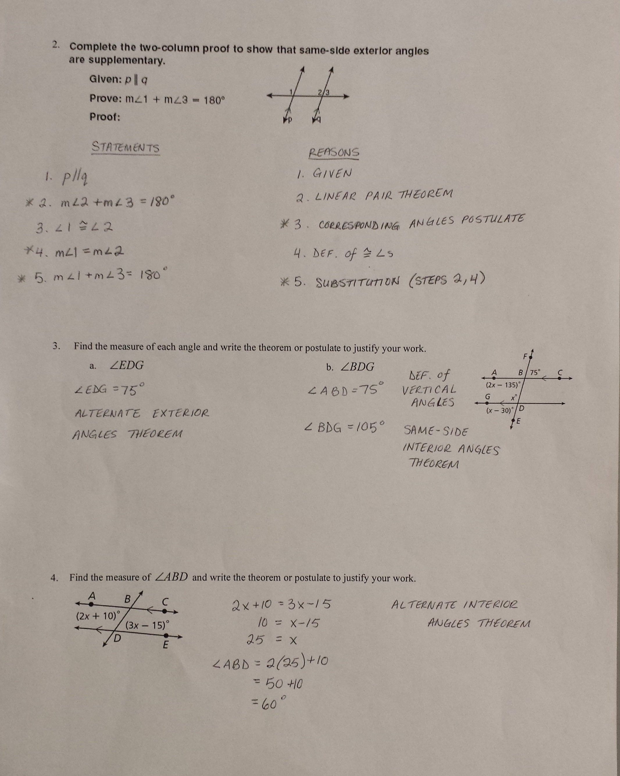Worksheet Section 3 2 Angles And Parallel Lines Answers
