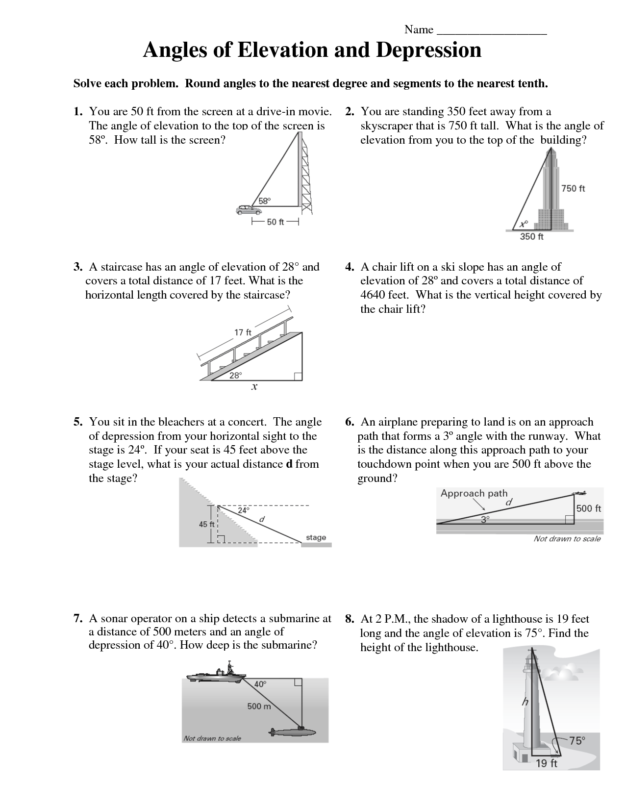 26 Angle Of Elevation And Depression Worksheet With