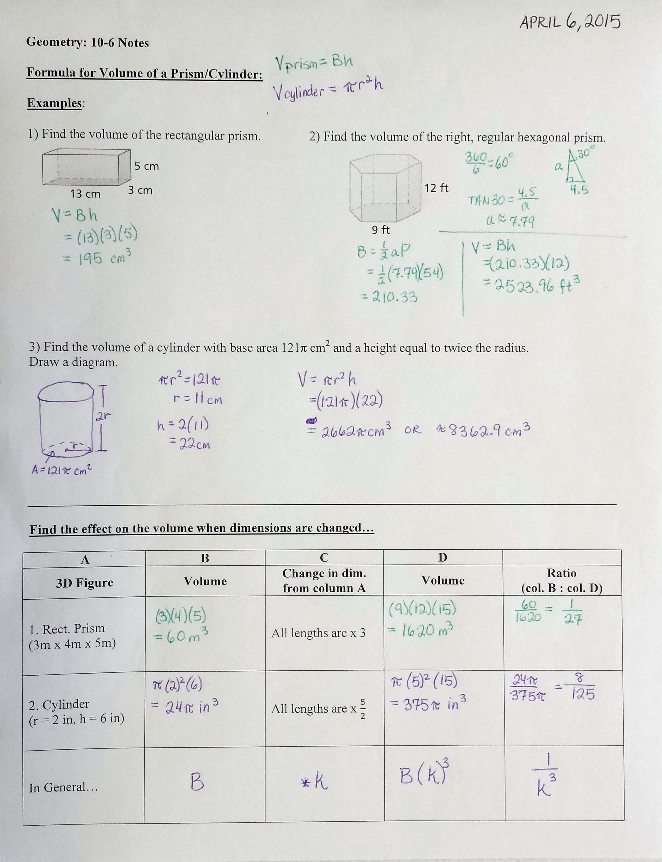 Lesson 6 6 Homework And Practice Volume Of Prisms And