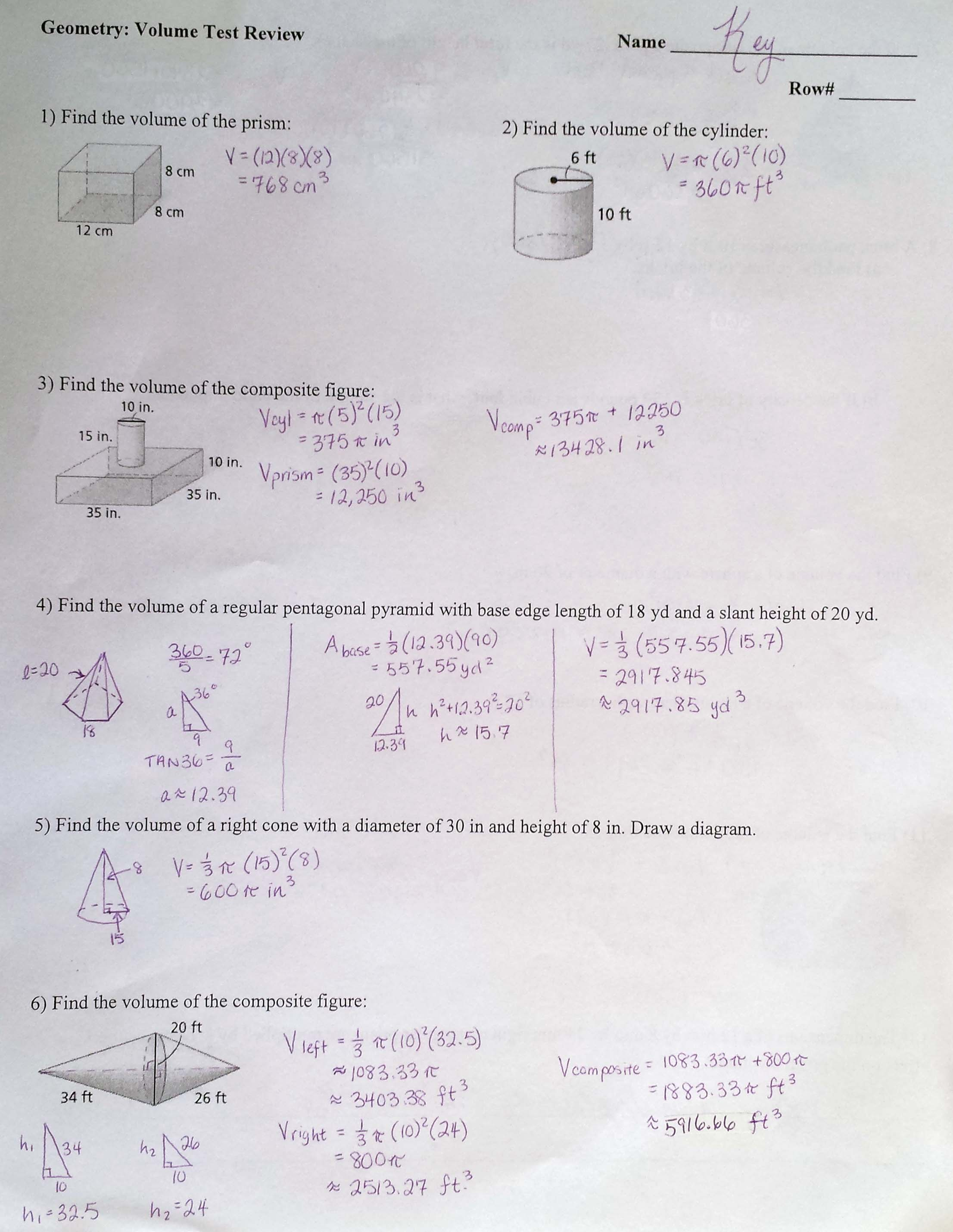 Worksheet Volume Of Prisms And Cylinders Worksheet Grass
