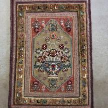 traditional-persian-sirjan-rug-dark-gold-flower-pot-design-overview