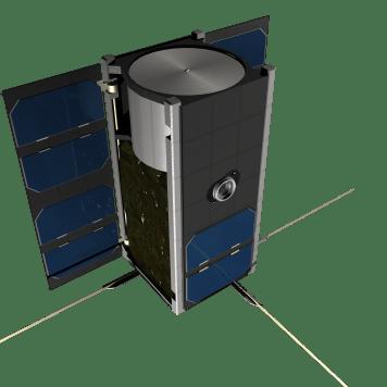 PW-Sat2 z otwartymi panelami słonecznymi. Autor: Marcin Świetlik