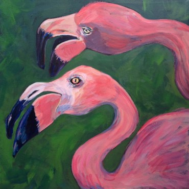 Exotic pink flamingos on a tropical green background
