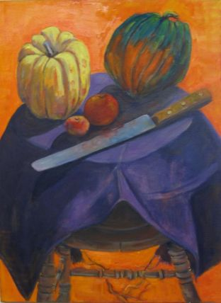 Fall kitchen still life with orange and purple theme