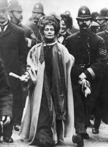 Emmeline Pankhurst detained by police. Getty Images.