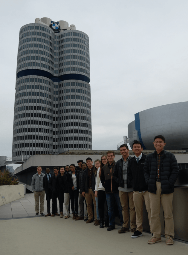 Visiting BMW headquarters in Munich, Germany.