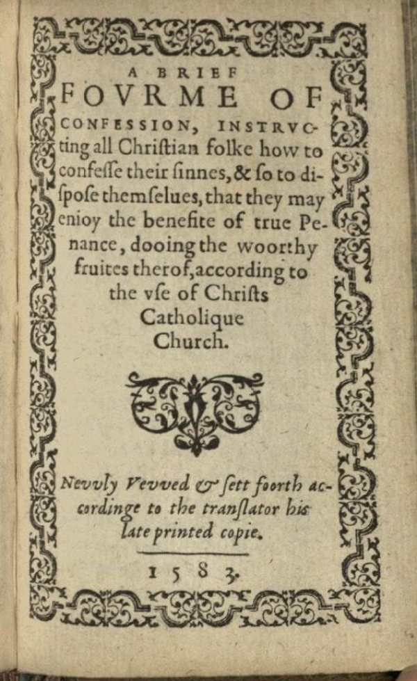 USTC 139280 A brief forme of confession title page