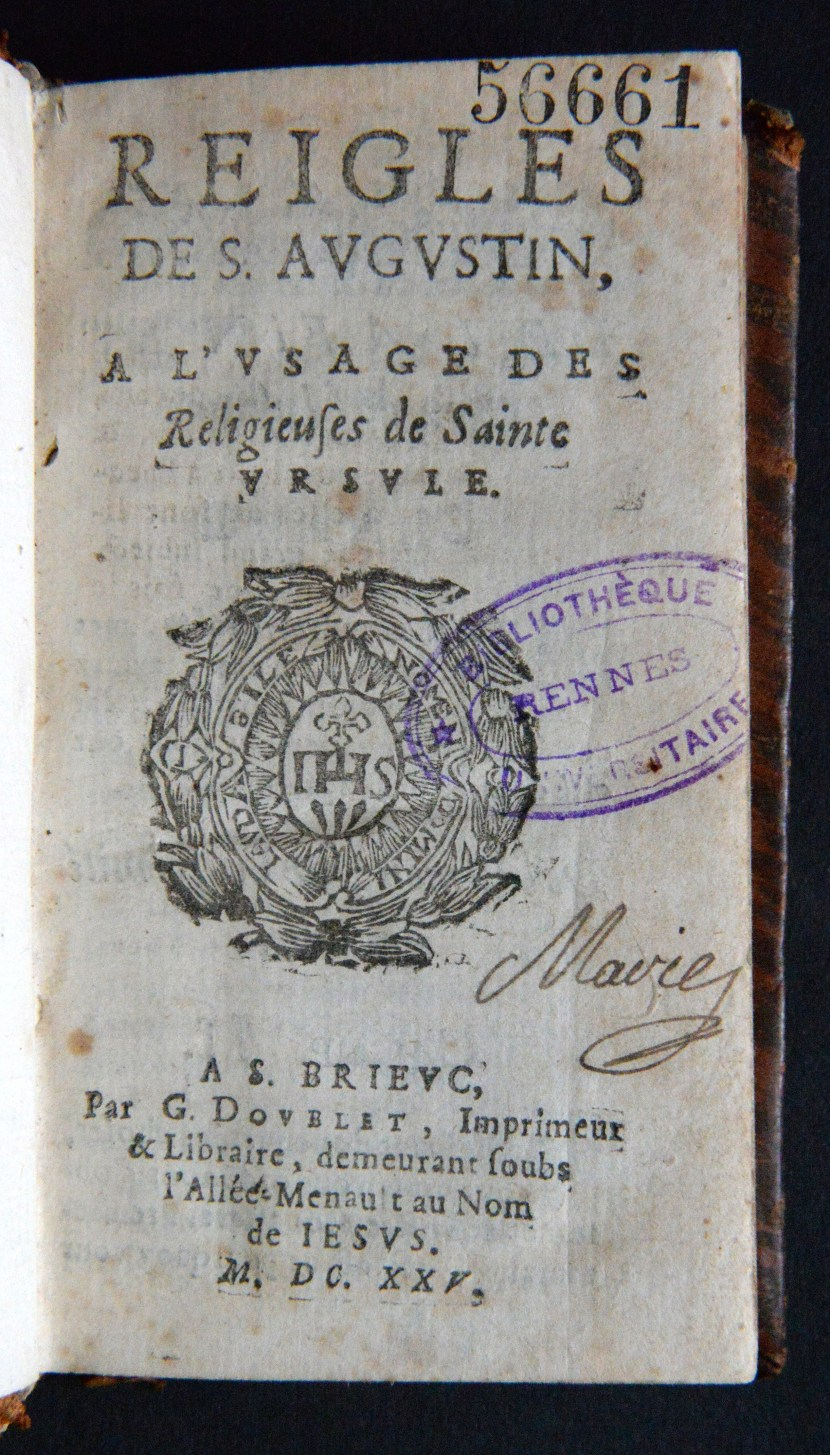 title page of volume from Rennes