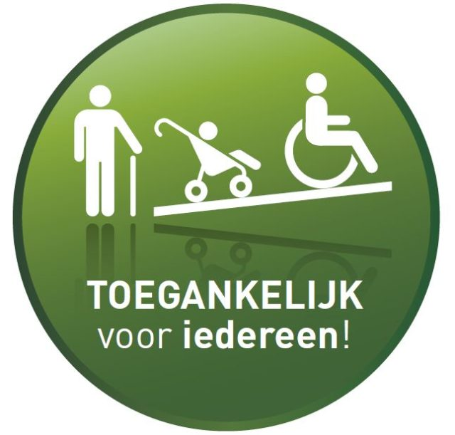"""Afbeelding van een groene cirkel met daarop een witte afbeelding van een persoon met stok, kinderwagen en rolstoel en de tekst """"Toegankelijk voor IEDEREEN""""."""