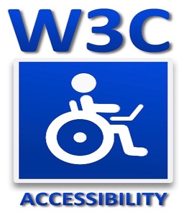 Afbeelding van blauwe letters W3C en een rolstoel symbool op een witte achtergrond.