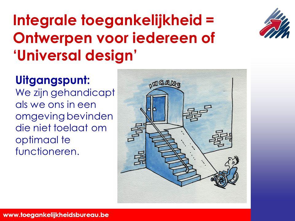 Afbeelding van een persoon in een rolstoel voor een ingang met een hoge trap met de tekst: Integrale toegankelijkheid = Ontwerpen voor iedereen of 'Universal Design'.