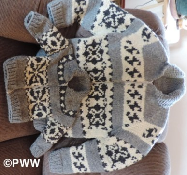 Linda's Cowichan style knitted-sweater