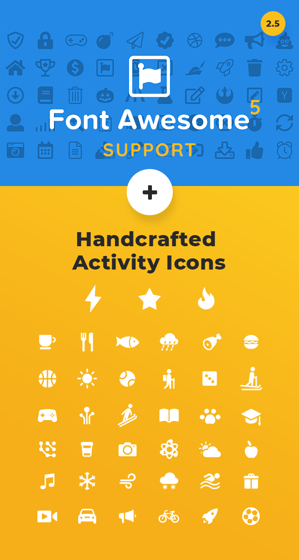 Fontawesome 5 and custom activity icons