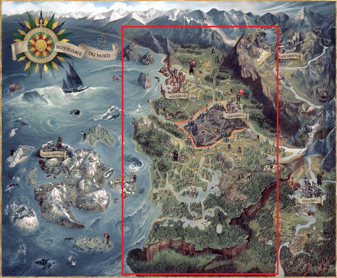La carte de The Witcher 3 est découpée en 5 grandes zones, 1,5 fois plus grand qu'un GTA V