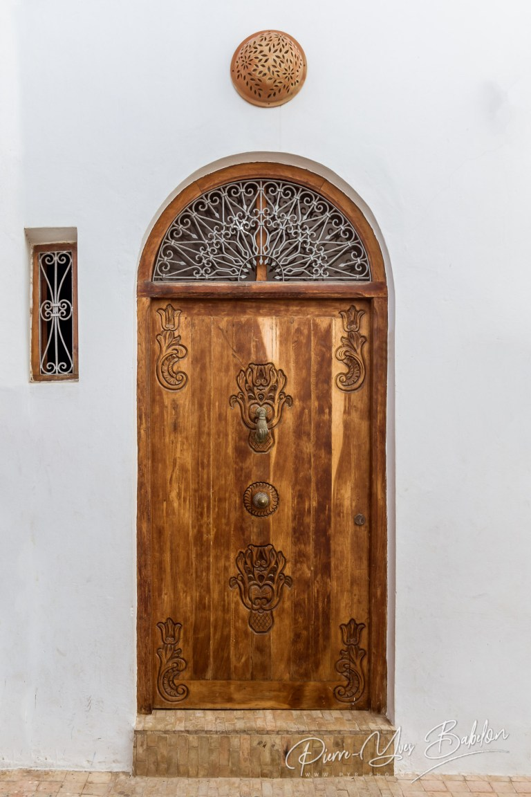 Carved wooden door