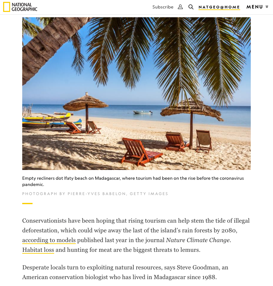 National Geographic, Madagascar's tourism drought could fuel another crisis