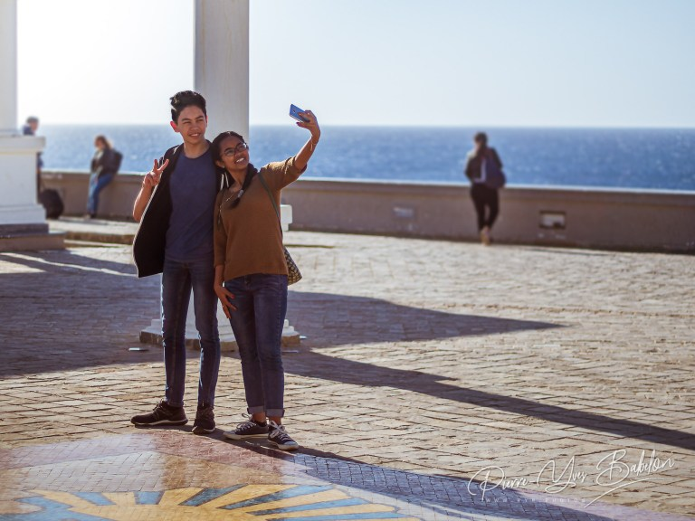 A young couple makes a selfie