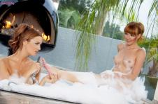 Jayden Cole licking Marie McCray feet in a bath