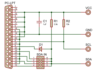 computothought example minimal parallel port i2c interface