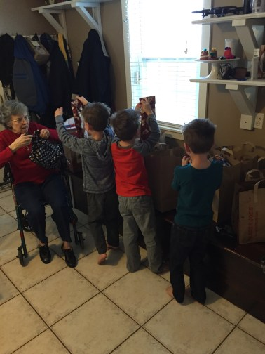 A frenzy of gift opening.
