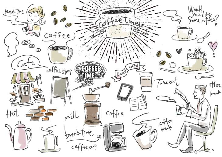 商用利用可 おしゃれカフェ風のカフェラテやスイーツなどのかわいい手描きイラスト素材のまとめ ピョンタックのイラストや写真で副業する方法