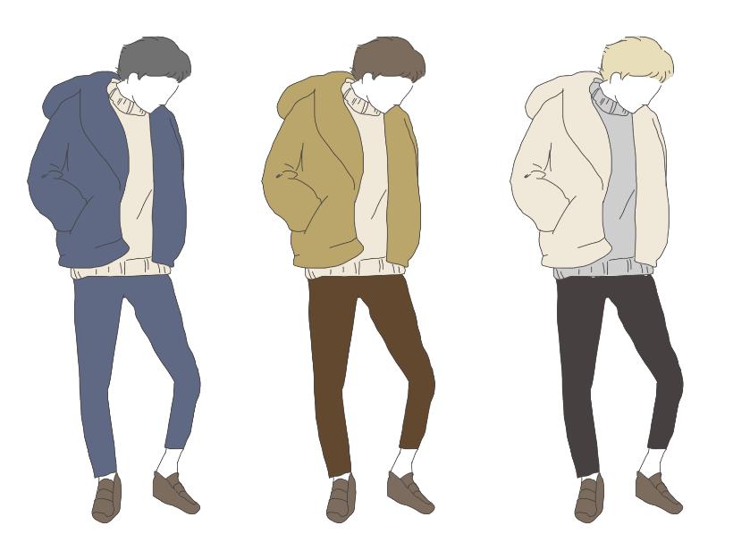 3色パターンのファッションイラスト素材【冬服編】