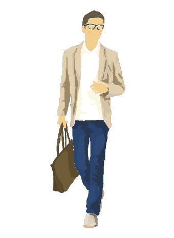 メガネをかけた男性の歩くイラスト素材