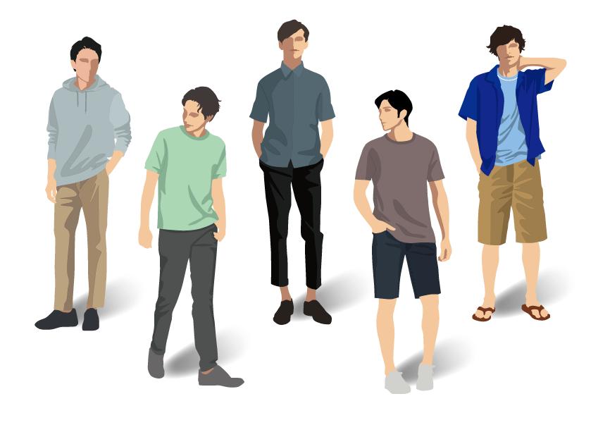 春夏男性ファッションのイラスト素材