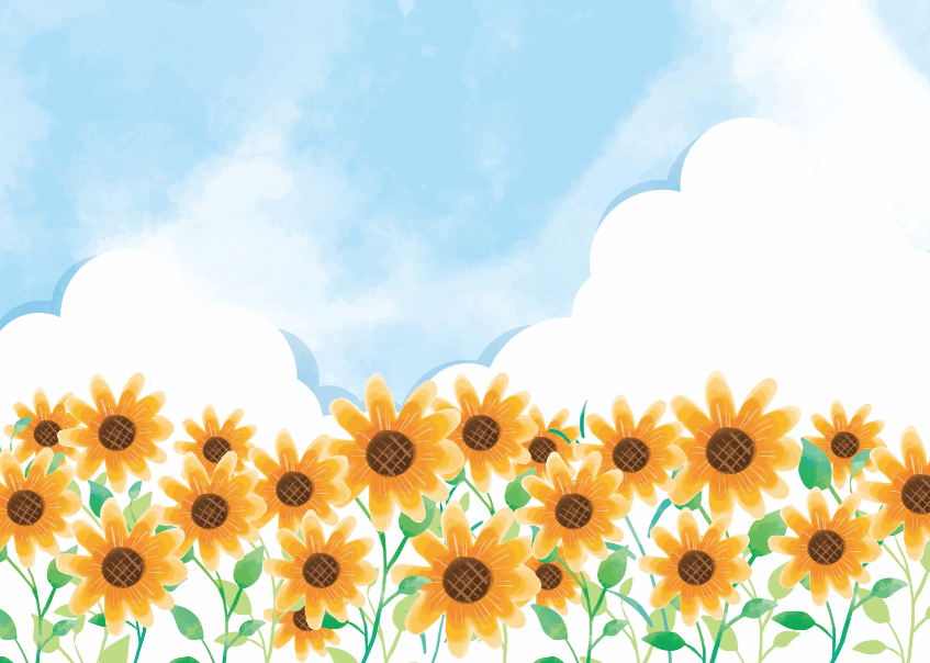 夏の青空とひまわり畑のイラストフレーム枠