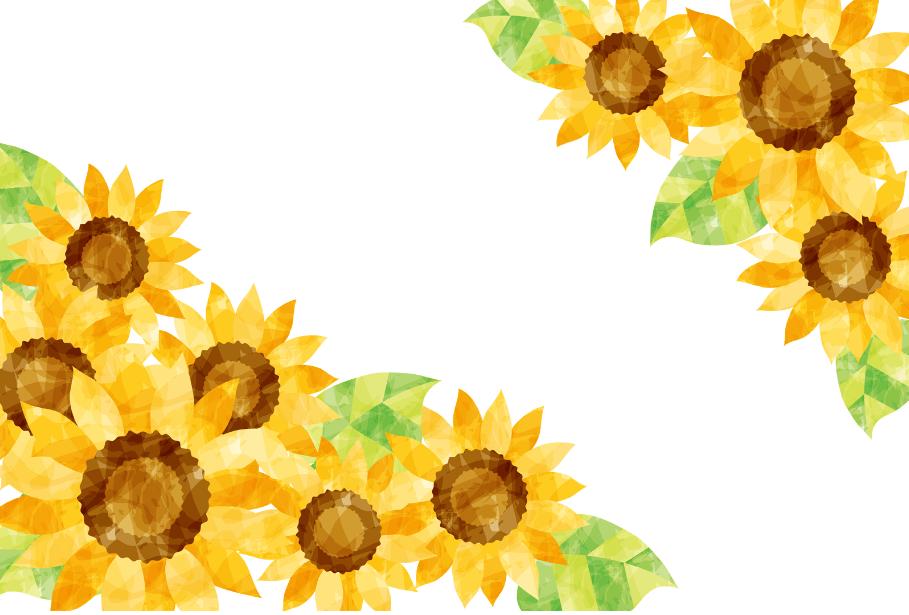水彩風ひまわり花のイラストフレーム枠