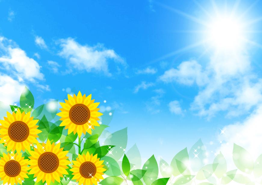 太陽輝く夏の空とひまわりのイラストフレーム枠