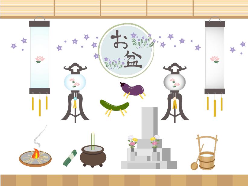 お盆イラスト素材セット(釣り提灯、墓参り、桔梗、送り火、迎え火、きゅうり、ナス、線香、手桶、盆提灯)