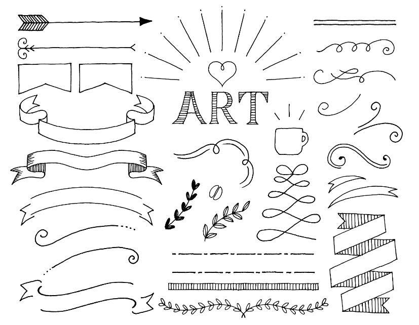チョークアートのリボンフレーム(フレーム、ライン、リボン、アンティーク、飾り枠、葉、ペン、コーヒー、黒板、植物、月桂樹、矢、フラッグ、ガーランド)