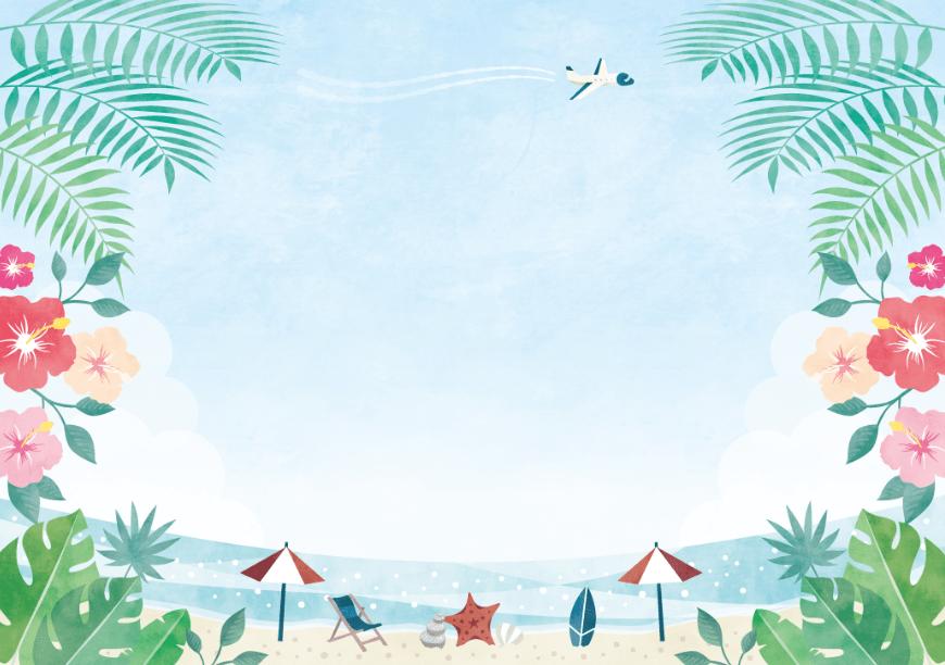 南国風海と浜辺の背景イラスト素材(海、ハイビスカス、ヤシの木、貝殻、花、ヒトデ、飛行機、葉っぱ、ビーチパラソル、サーフィン)