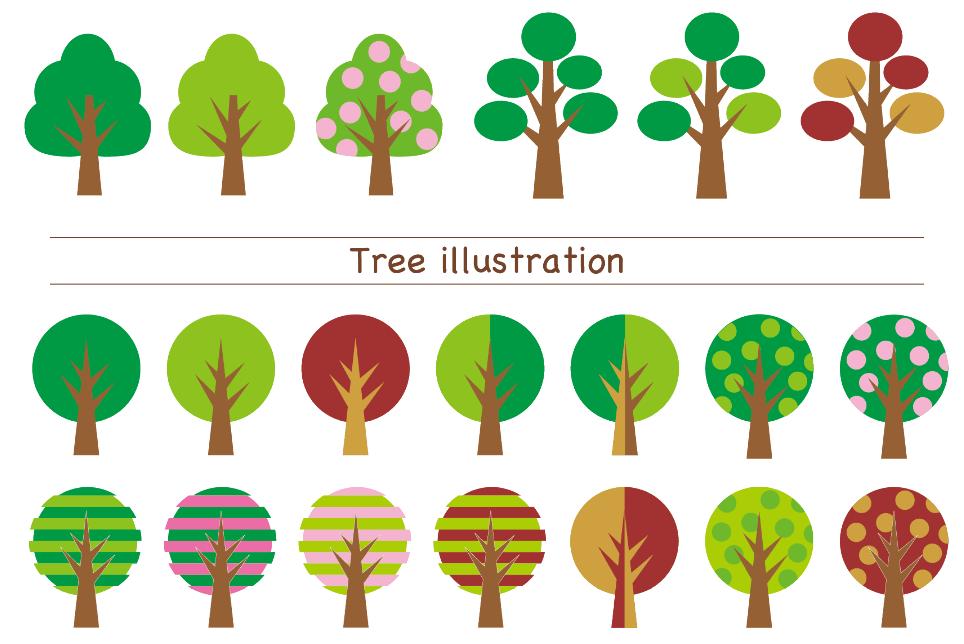 樹木いろいろ(木、樹木、緑色、紅葉色、若葉色、春、夏、秋、縞々、丸、針葉樹、落葉樹、松、かわいい、ポップ、植物)