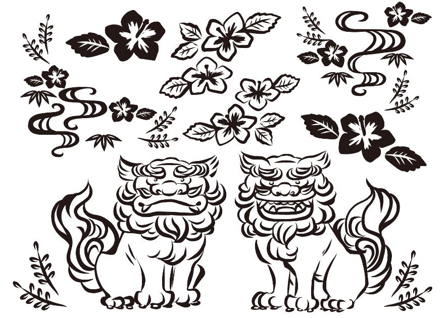 手描き線画の沖縄モノクロイラスト(シーサー、ハイビスカス、沖縄、琉球、紅型、伝統柄、模様、狛犬、阿吽)