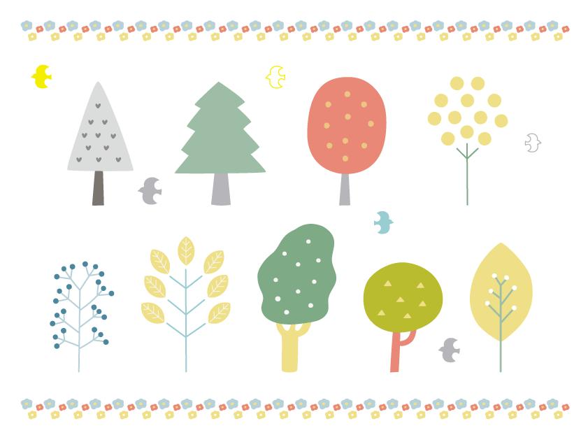 北欧風木のセット(木、ナチュラル、かわいい、おしゃれ、シンプル、鳥、森、葉、花、手描き、絵本風)