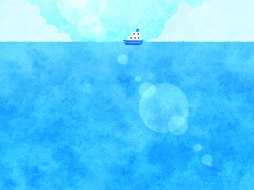 手描き風海と船の背景イラスト(海、入道雲、船、水平線)