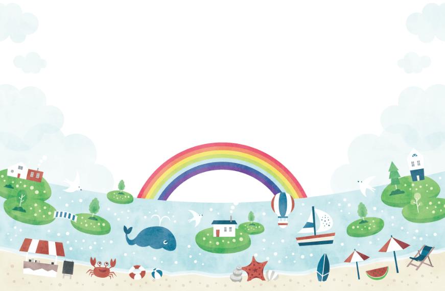 水彩風海の風景(砂浜、ビーチ、島、クジラ、虹、貝殻、サーフィン、カニ、船、気球、パラソル、鳥)
