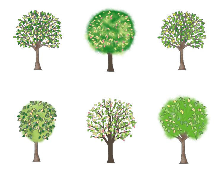 メルヘンな木のイラストセット(木、街路樹、庭木、緑、林、公園、広葉樹、森)