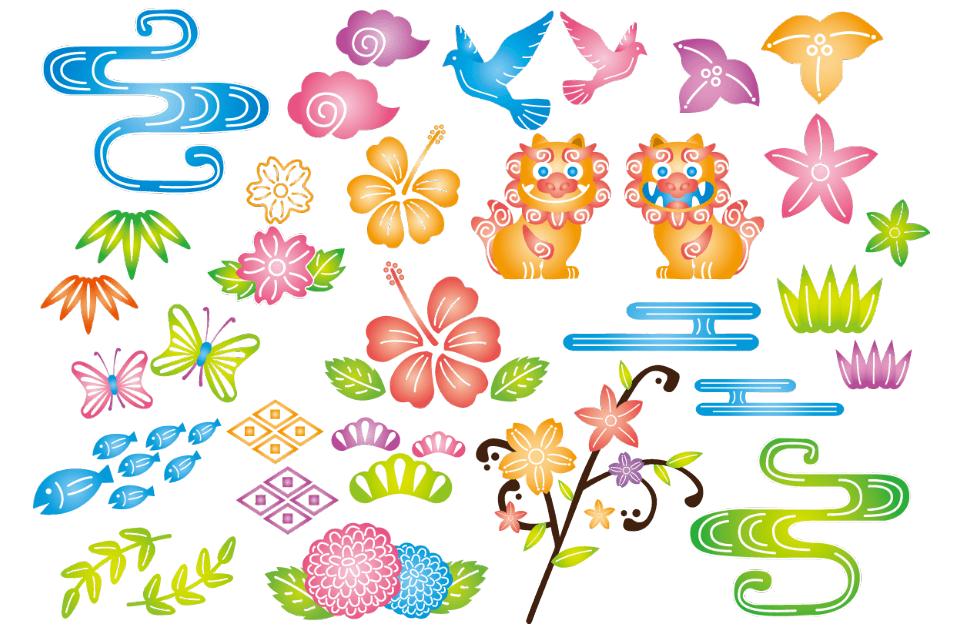 紅型の素材パーツ(紅型、沖縄、琉球、着物、織物、郷土、芸能、パターン、背景、花、巻物、魚、)