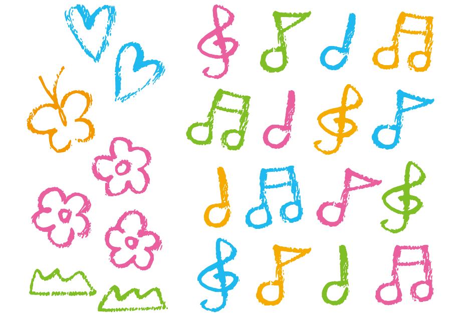 クレヨンタッチのカラフル(くれよん、音符、手書き、ライン、ちょうちょ、おんぷ、ハート)