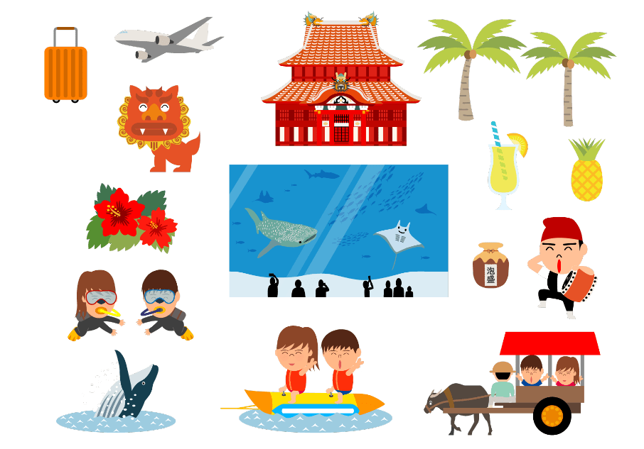 沖縄の観光地イラスト(パイナップル、ヤシの木、ジンベイザメ、マンタ、ハイビスカス、城、旅行、キャリーケース、観光、美ら海、クジラ、スキューバ、スキューバダイビング、人物、男性、女性)
