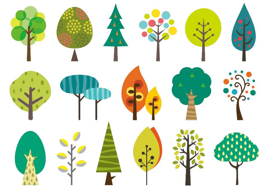 北欧風木いろいろ(ツリー、葉、森、ナチュラル、グリーン、木の実、葉っぱ)