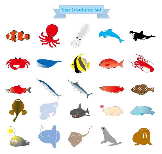 海の生き物アイコンセット(タコ、イカ、クジラ、アザラシ、アシカ、蟹、秋刀魚、カニ、深海魚、エイ、蛸、エビ、海老、イルカ、サメ、鯛、アンコウ、エンゼルフィッシュ、クマノミ、シャチ、伊勢えび、チョウチンアンコウ、ヒラメ、カレイ、カジキマグロ)