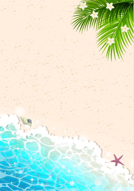 波打ち際の南国風背景イラスト素材(砂浜、南国、波紋、きらきら、水面、ビーチ、花、貝殻)