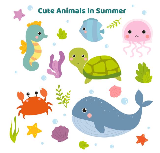 かわいい海の仲間セット(カメ、クラゲ、タツノオトシゴ、カニ、鯨)