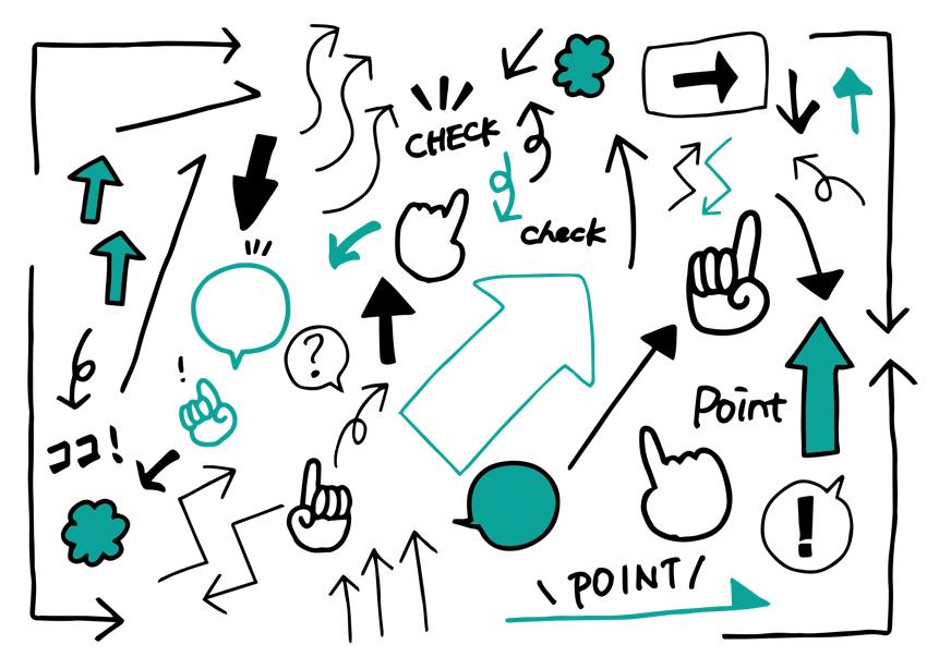 いろいろな矢印のアイコンセット(矢印、ピクトグラム、アイコン、マーク、シンプル、手描き風)